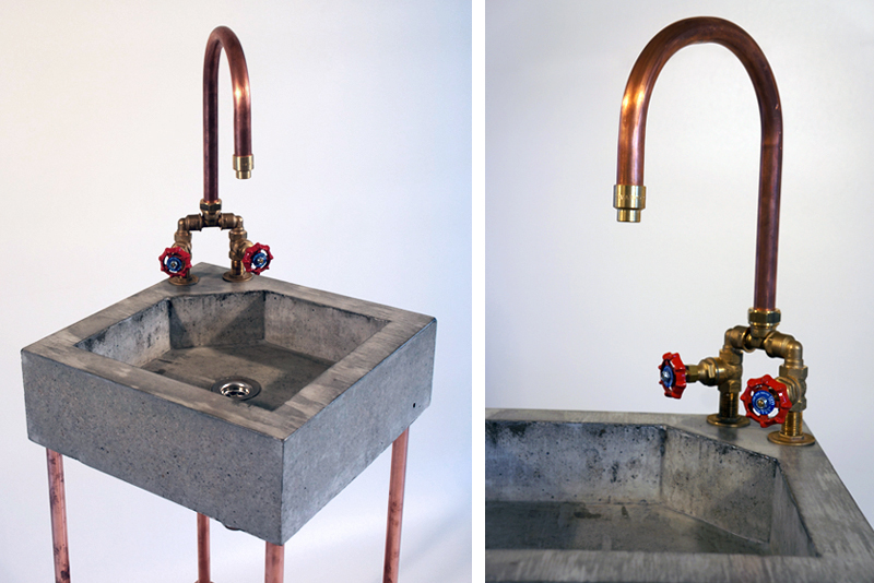 copper bathroom fixtures concrete sink with copper tap amp copper heater jan jongejans 12508